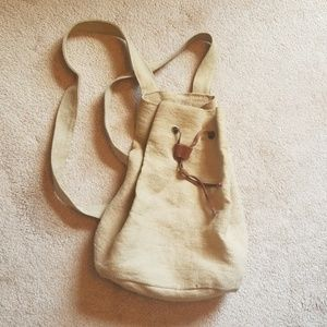 Gap Fabric and Leather Drawstring Backpack
